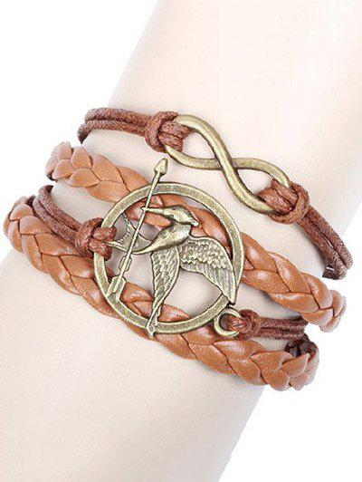 Bird Arrow Braided Bracelet - BROWN