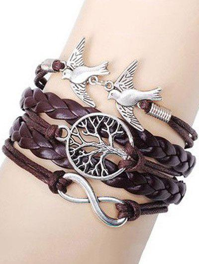 Swallows Tree of Life Braided Bracelet - BROWN