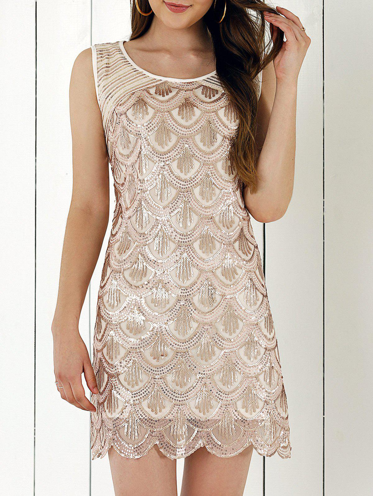 Fish Scale Pattern Sequined Scalloped Edge Dress - APRICOT S