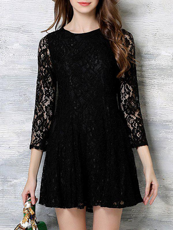 3/4 Sleeves Embroidered Lace Dress - BLACK XL