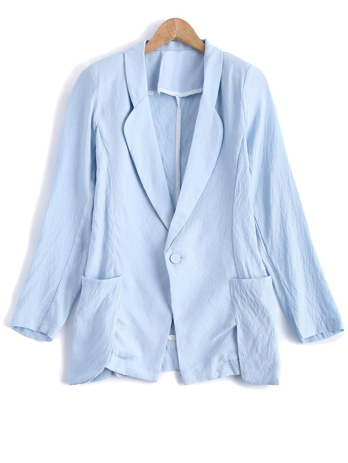 Turn Down Collar Pocket Linen One Button Blazer - Bleu Clair XL