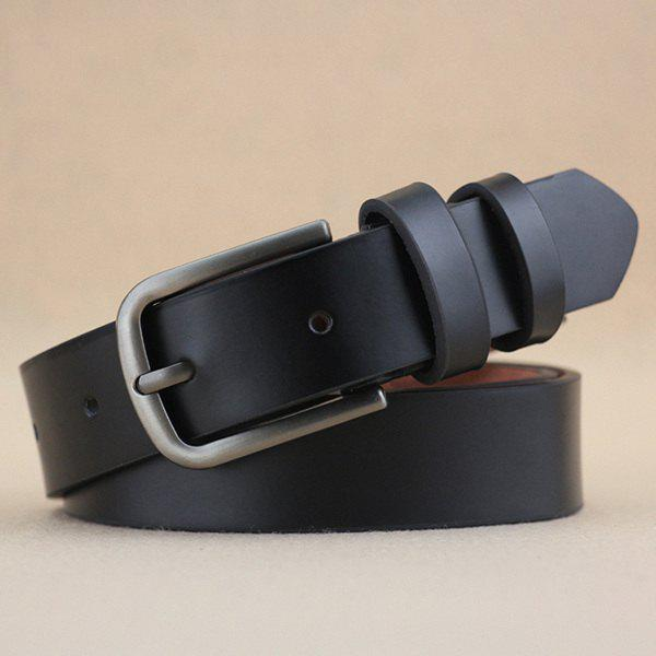 Lady Brief Style Pin Buckle PU Belt - BLACK