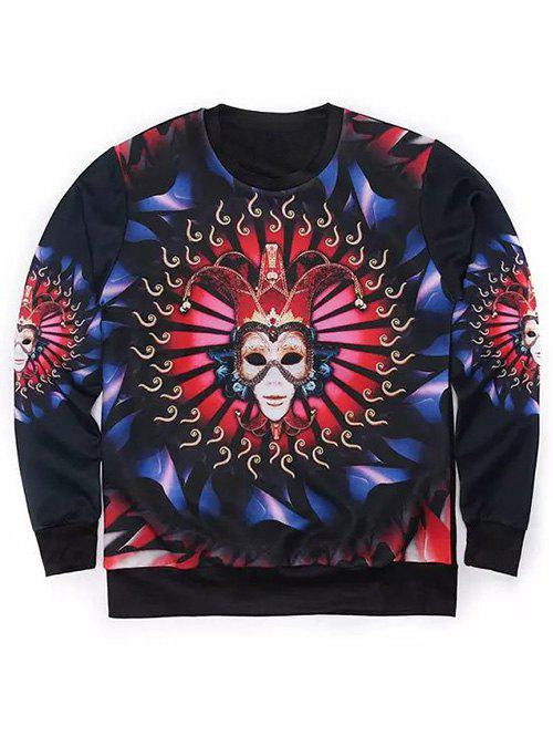 Round Neck Long Sleeve 3D Mask Clown Print Sweatshirt - BLACK XL