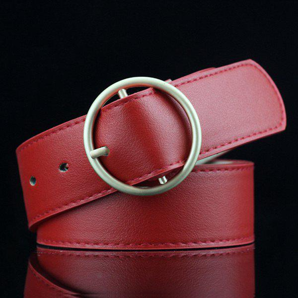 Lady Brief Style Round Pin Buckle PU Belt - RED