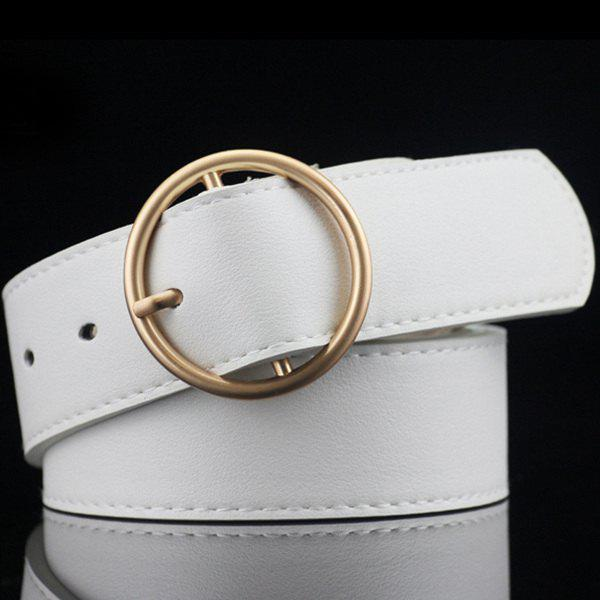 Lady Brief Style Round Pin Buckle PU Belt - WHITE
