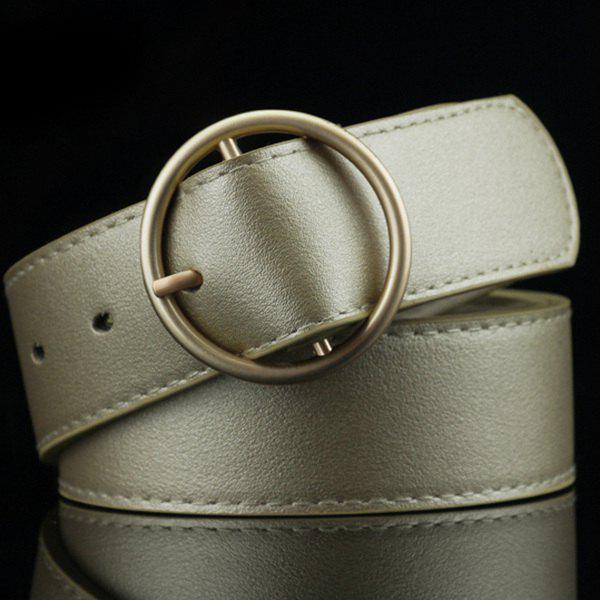 Lady Brief Style Round Pin Buckle PU Belt - LIGHT GOLD