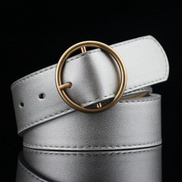 Lady Brief Rond Style Pin Buckle PU ceinture - Argent