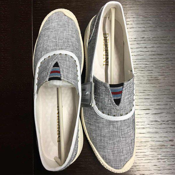 Linen Rivet Slip-On Casual Shoes - GRAY 41