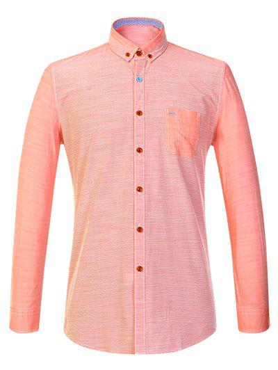 Long Sleeve Button-Down Striola Shirt - ORANGEPINK 4XL