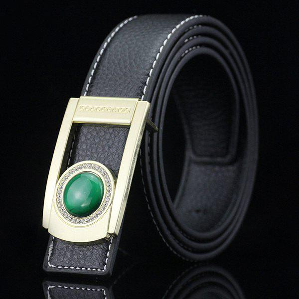 Gentleman Brief Style Round Faux Jade Inlay Hollow Out Buckle PU Belt -  BLACK