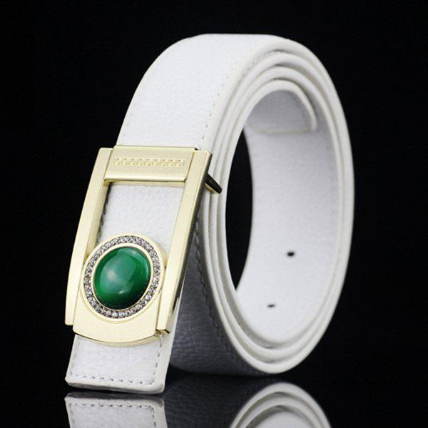 Gentleman Brief Style Round Faux Jade Inlay Hollow Out Buckle PU Belt - WHITE