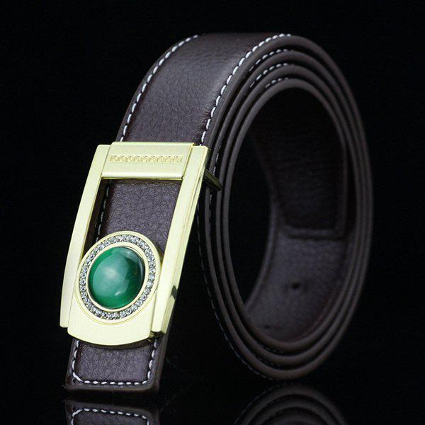 Gentleman Brief Style Round Faux Jade Inlay Hollow Out Buckle PU Belt - CHOCOLATE