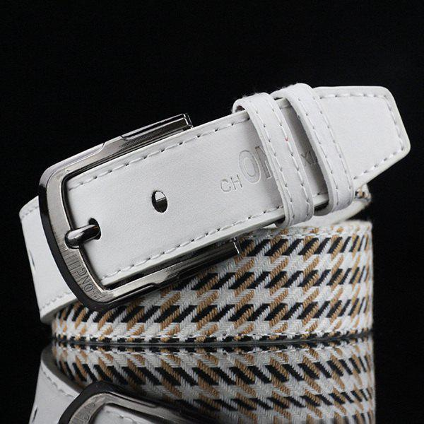 Brief Style Pin Buckle Stripe and Plaid Embroidery PU Belt - WHITE