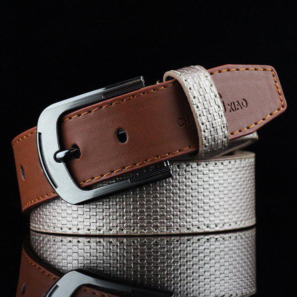 Brief Style Color Block Embossed PU Belt - LIGHT GOLD