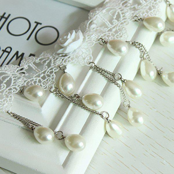 Crochet Tiered Lace Teardrop Fake Pearl Necklace Set - PEARL WHITE