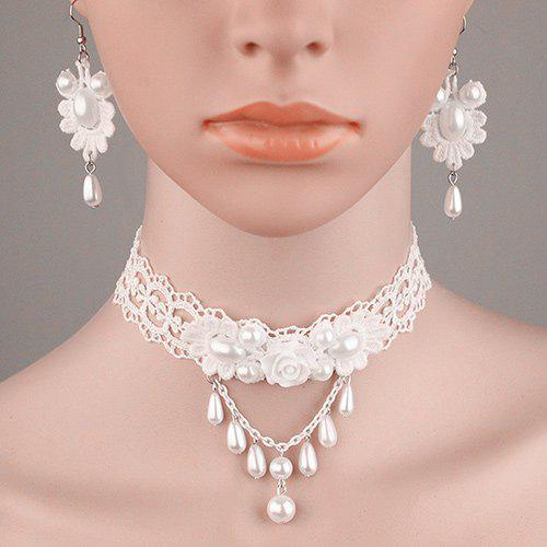 Vintage Layered Lace Crochet Floral Faux Pearl Necklace Set - PEARL WHITE