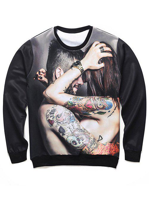 Round Neck Long Sleeve 3D Tattoo Couple Print Sweatshirt