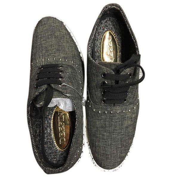 Rivet Linen Lace-Up Souliers - Gris Noir 41