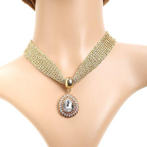 Retro Cut Out Rhinestone Teardrop Faux Crystal Nets Necklace - GOLDEN