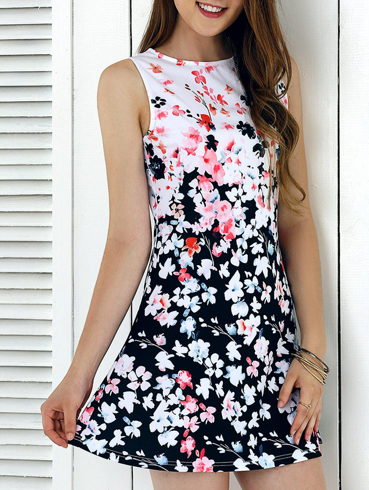 Elegant Sleeveless Tiny Floral Print Mini Dress - WHITE/BLACK XL