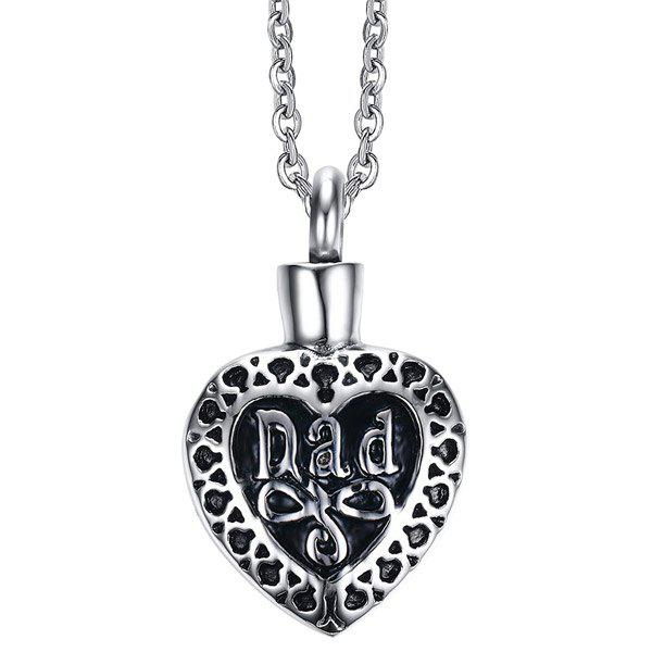 Heart Shape Urn Pendant Necklace -  SILVER