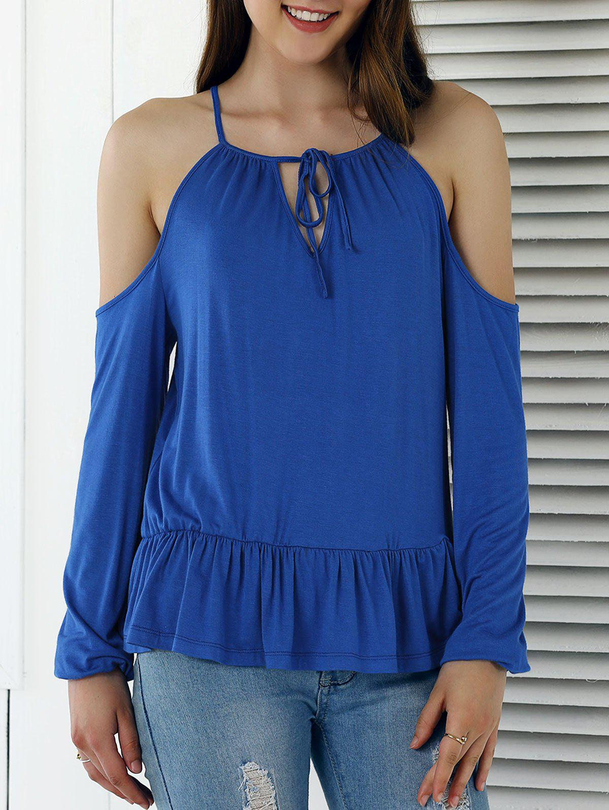 Cut Out Long Sleeve Solid Color Blouse - BLUE XL