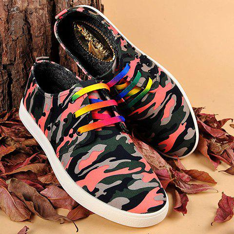 Rivet Camouflage Print Lace-Up Casual Shoes - RED 43