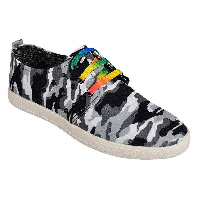 Rivet Camouflage Print Lace-Up Casual Shoes - BLACK 43