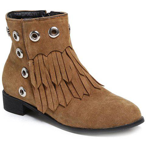 Zipper Eyelets Fringe Ankle Boots - BROWN 39