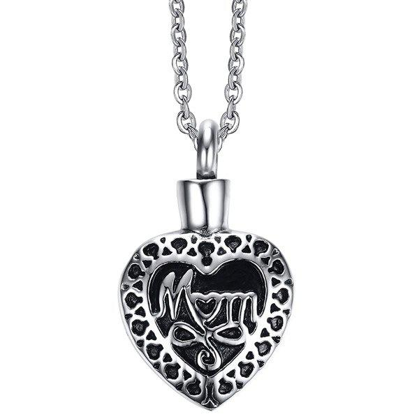 Heart Shape Mom Urn Pendant Necklace - SILVER
