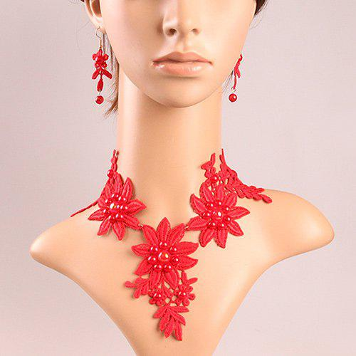 Trendy Faux Pearl Crochet Lace Floral Necklace Set - RED