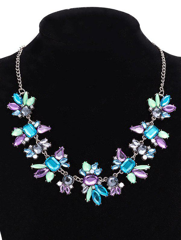 Artificial Crystal Water Drop Geometric Necklace - PURPLE