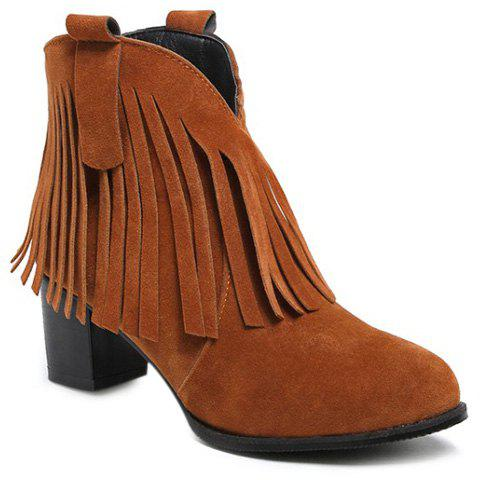 Fringe Suede Zipper Ankle Boots - BROWN 39