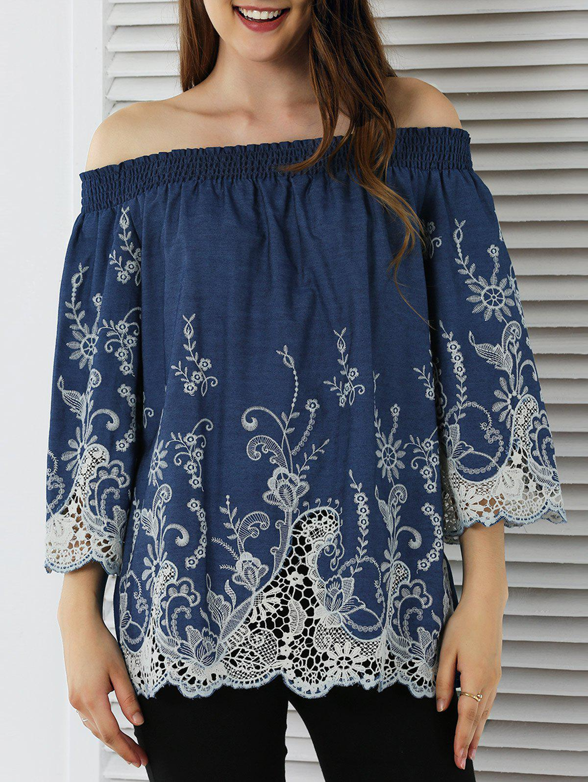 Sweet Off-The-Shoulder Lace Splicing Blouse - DENIM BLUE M