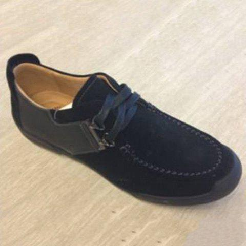 PU Spliced Stitching Lace-Up Casual Shoes - BLACK 43