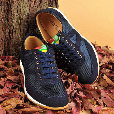Suede Spliced Breathable Mesh Casual Shoes - BLUE 43
