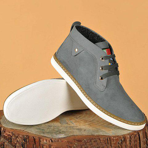 Lace-Up Suede Mid Top Casual Shoes - GRAY 43
