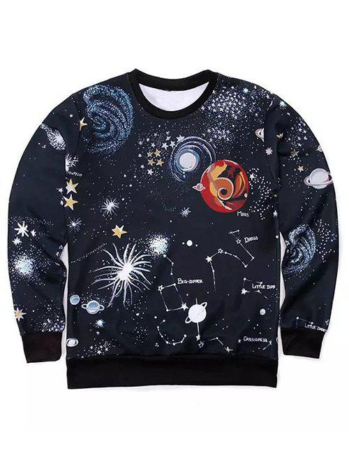 Round Neck Long Sleeve 3D Outer Space Print Sweatshirt - BLACK XL