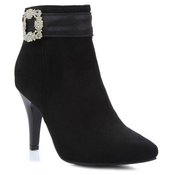 Pointed Toe Rhinestone Suede Ankle Boots - BLACK 37