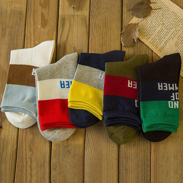One Set Casual Letters Pattern Breathable Socks - COLORMIX