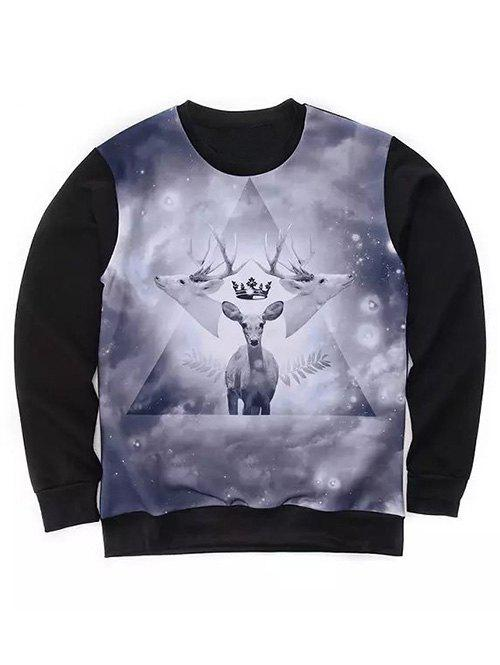 Round Neck Long Sleeve 3D Geometric and Deer Print Sweatshirt - GRAY XL