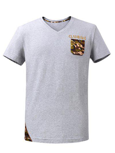 Rhinestone Embellished V-Neck Short Sleeve Camo Spliced T-Shirt - GRAY 2XL