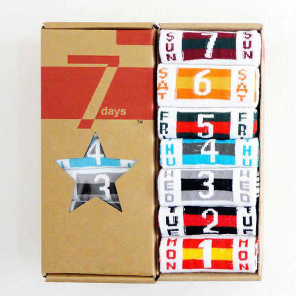 7 Pairs of Casual Number and Flag Pattern Socks - WHITE