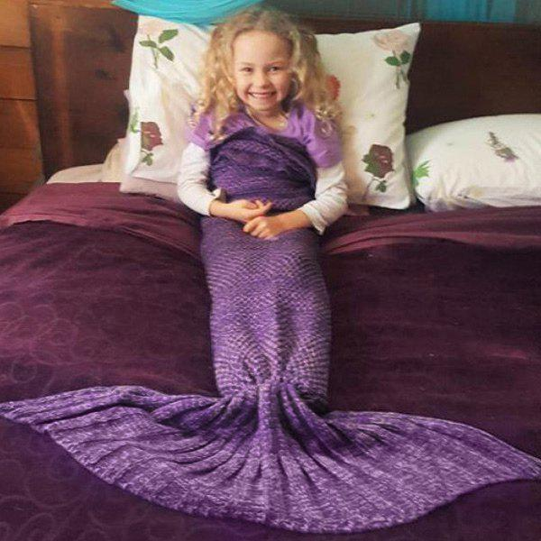 Flouncing Sleeping BagFish Échelle Tail Shape Mermaid Knitting Blanket For Kids - Pourpre