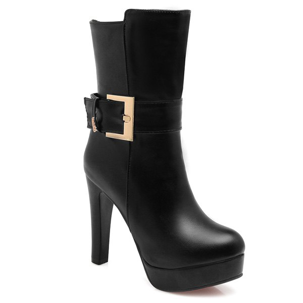 Super High Heel Zip Buckle Mid Calf Boots 2017 fashion style zipper decoration round toe shoes size 34 47 mid calf boots high quality low price super bargain women boots