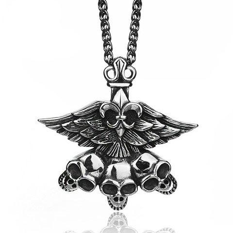 Gorgeous Etched Winged Skull Pendant - SILVER