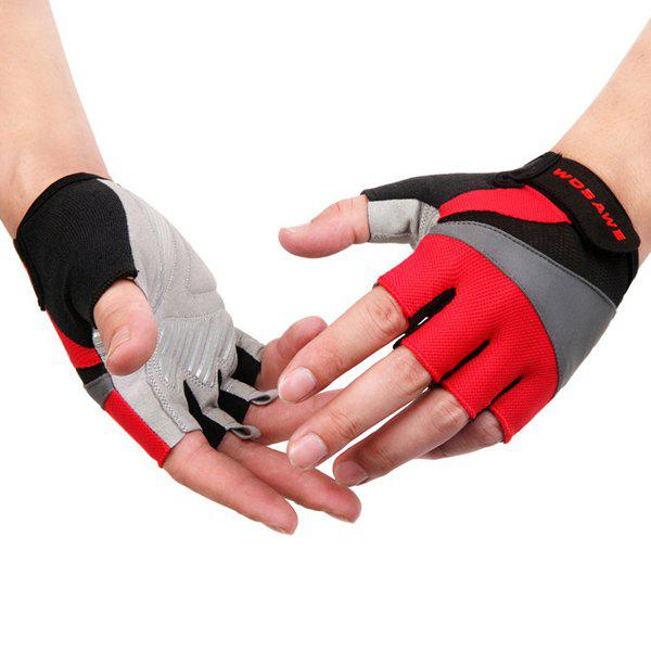 Silicone Gel Antislip Half Finger Cycling Gloves - RED L