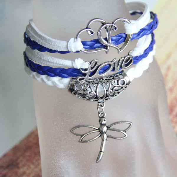 Love Heart Dragonfly Bracelet - BLUE