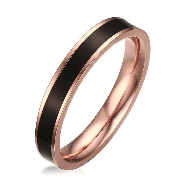 Enamel Stainless Steel Polished Ring - BLACK ONE-SIZE
