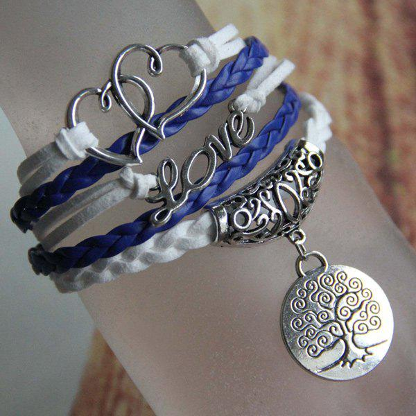 Heart Love Life Tree Braided Bracelet - BLUE
